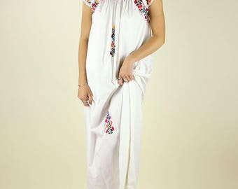 70's Embroidered Maxi Dress