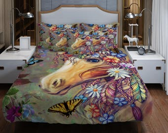 Gypsy Boho Horse  Bedding ,  Duvet Cover or  Comforter,  Twin  Full, Queen, King, Rug, Throw Pilllow Options
