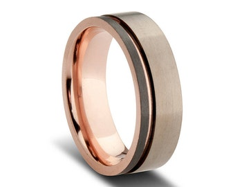 Grey and Black Zirconium Wedding Band with Rose Gold Plated Inlay.