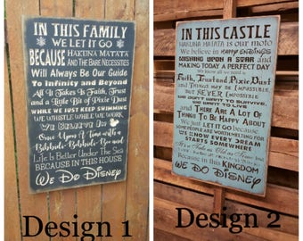 "Custom Carved Wooden Sign - ""WE DO DISNEY - In This Castle, In This House, We Believe In Happy Endings And Wishing Upon A Star .."" - 20""x13"""