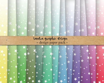 """Stars digital paper: """"STARS ombre"""", ombre digital paper, stars backgrounds and other patterns in pretty colors (1288)"""
