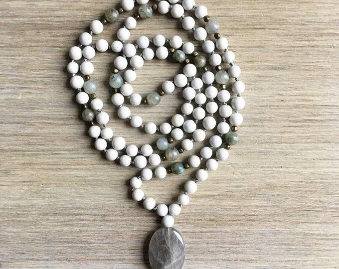 Feldspar Labradorite Mala Beads, 108 Mala, Gemstone, Handmade, Hand-knotted, Meditation, Yoga, Prayer Beads, Chakra