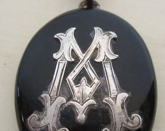 Antique Victorian lacquered mourning pendant, locket; ca 1880, mourning jewelry, hanger