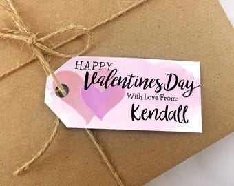 Printable Valentine's Day Tags - Personalized Gift Tags PDF - Customizable Print and Cut Pink Hearts Valentine Tag Template