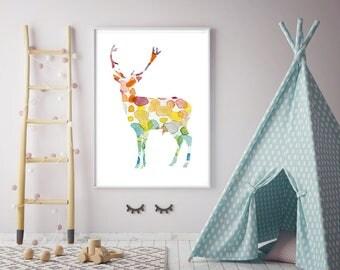 Deer Watercolor painting - Giclee Print - Nursery decor - Home Decor - Animal art - rainbow colors Deer Art