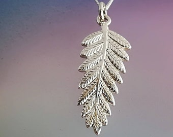 Fine Handcrafted Sterling Silver Fern Pendant - Made in New Zealand