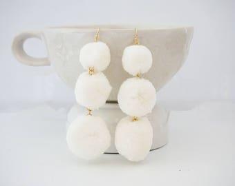 Cream White Pom Pom Statement Earrings