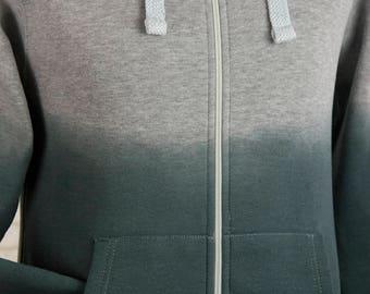 Zip up hoody dip dyed ombre gradient hooded jacket hand dyed hoodie womens zip up hoodie hooded sweatshirt mens zip up hoodie Medium