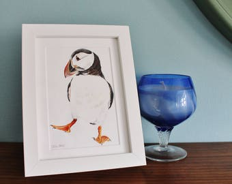Puffin Bird Watercolour Painting - Sea bird picture - Framed Puffin giclee print - Puffin Art Poster - Picture and gift for the home