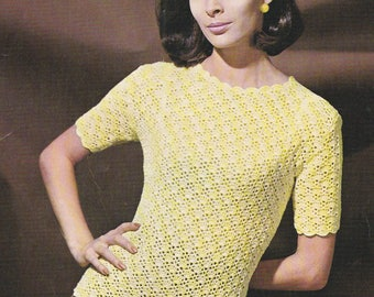 Womens short sleeve top crochet pattern blouse short sleeved pdf INSTANT download pattern only pdf 1960s