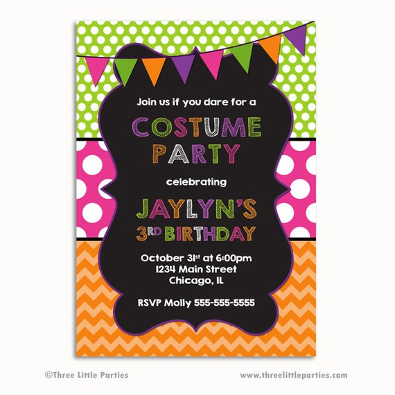 costume party invitation costume party birthday invitation