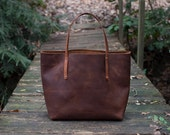 USA Made Leather Tote Bag - Full-Grain Leather tote bag - The Large Avery Leather Tote Bag