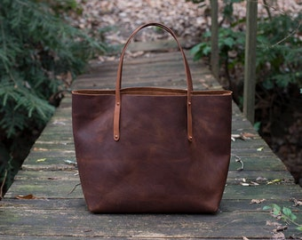 Leather Tote Bag - SALE - Leather Bag Handmade in USA, Full-Grain Leather - Leather Tote