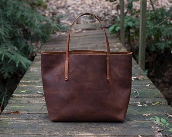 Leather Tote Bag - 25% OFF SALE - Leather Bag Handmade in USA, Full-Grain Leather - Leather Tote