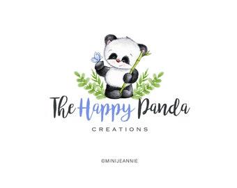Panda Logo-Jungle Logo-Baby Animal Logo-Bear Logo-Baby Panda Logo-Etsy logo-Watercolor Logo-Business Logo-Premade logo-Free Font Change