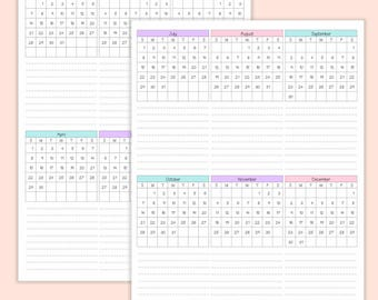 2018 - Year At A Glance - Calendar - Printable