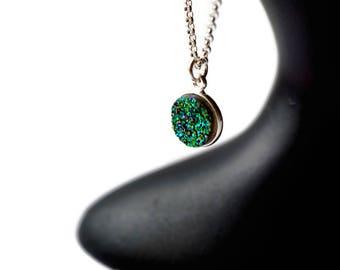 Sterling Silver Druzy Necklace, Raw Crystal Necklace, Turquoise Druzy, Small Druzy, Dainty Druzy, Drusy Jewelry