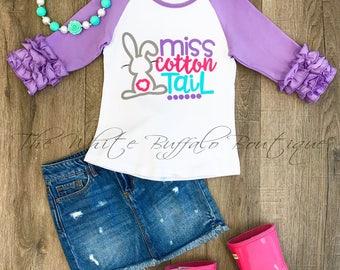 Girls Miss Cotton Tail ruffle sleeve shirt/FREE SHIPPING/raglan/bunny/toddler-girls ruffled raglan/Todler girls shirt with ruffled sleeves