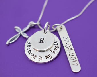 Memorial Jewelry, Remembrance  Necklace ,Sympathy gift, Forever in my heart,loss if child , miscarriage necklace, silver