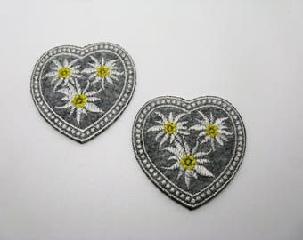 Set of 2 embroidered hearts on background-grey ref 6I edelweiss flowers applications