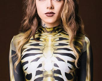 Festival Clothing, Festival Bodysuit, Sexy Bodysuit, Gothic Clothing, Womens Bodysuit, Sexy Catsuit, Skeleton Costume, One Piece Body Suit
