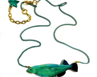Turquoise Fish, Good Luck Symbol, Matte Gold Brass, Crystal zircon, White & Gold 16k Plated brass Chain, Elegant Necklace, Wedding, Bridal