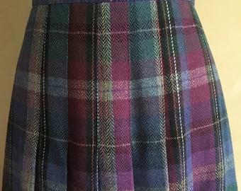 Vintage 70's High Waisted  Plaid Wool Pleated Skirt - Emily St John