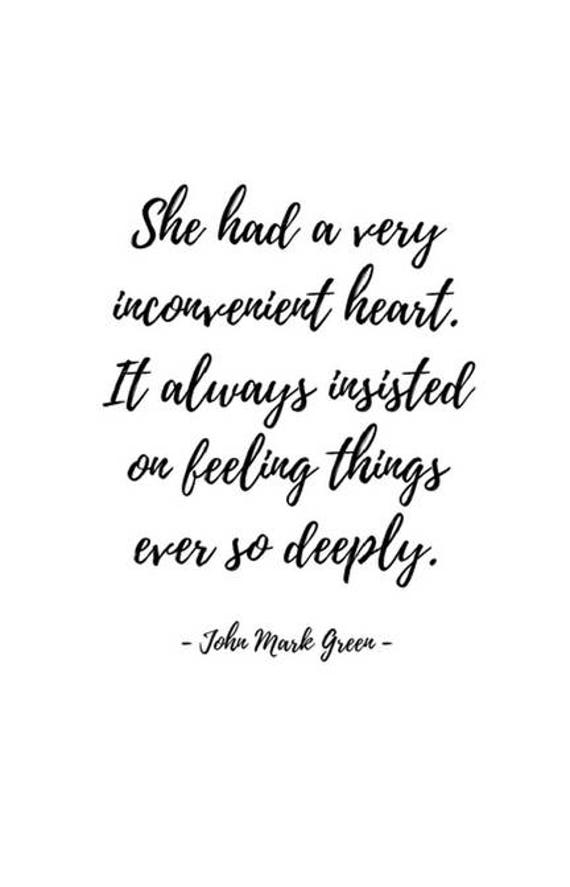 Wall Art Prints - Poetry Print - Love Decor - She Had a Very Inconvenient Heart Poem by John Mark Green