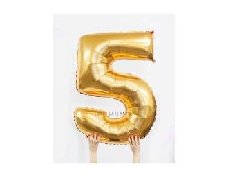 """40"""" Metallic Gold Number Balloon, 40 Inch Gold Balloon, Giant Gold Number Balloon, Giant 5 Balloon, Number Five Balloon, 40"""" Five Balloon"""