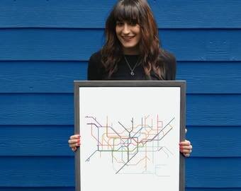 London Subway // London Metro Map // London Map // London Art // London Poster // Transit Map // Subway Map // Subway Poster Art