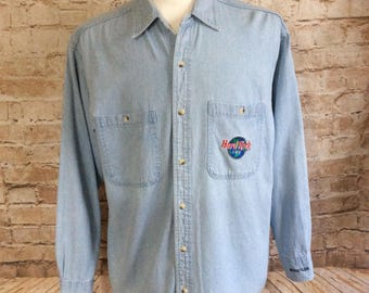 Vintage Hard Rock Cafe Denim Shirt From Whistler Canada Blue Embroidered Bohemian Small c 1970-80s