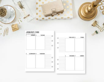 Personal Wide 2018 Complete Vertical printed planner calendar - monthly weekly - week on two pages -  Mo2P Wo2P