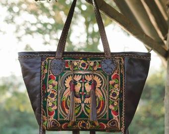 One of a Kind Hmong Embroidered Shoulder Bag, Boho Beach Tote Bag, Bohemian Bag, Women Leather Shoulder Bag, Artisan Handbag - BG0001-0000