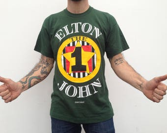 Elton John by Gianni Versace | Vintage | 1990s | Rock T-shirt | The One Tour l Cotton | Green/yellow/red