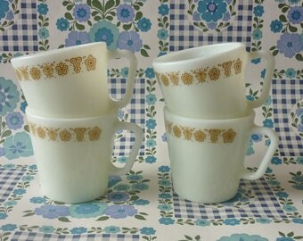 Four Butterfly Gold D Handle Pyrex Mugs