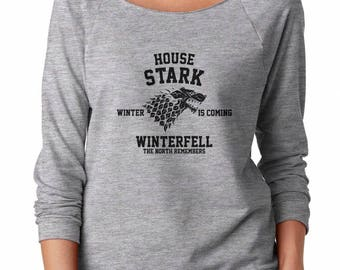 House Stark Shirt Game of Thrones Shirt Winter Is Coming Shirt Winterfell Shirt Ladies Women Shirt Off Shoulder Sweatshirt Women Sweatshirt