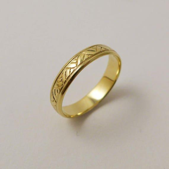 Yellow gold wedding ring 14 karat solid gold wedding band for like this item junglespirit Choice Image
