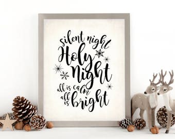 """Christmas Decor Sign. Silent Night, Holy Night Sign, DIGITAL PRINTABLE File Only, 8x10"""" Holiday Decor Sign"""
