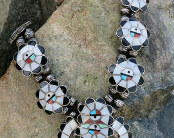 """ZUNI SQUASH BLOSSOM Necklace, 24"""", Vintage, Inlay Sunface, Sterling Silver"""