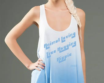 FTLA Apparel eco-HYBRID™ Micro Jersey Ombre Dye Racerback Drapey Tank - Animal Loving Tree Hugging Hippie,Vegan Tank Top, Animal Lover Tank