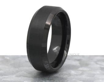 Black Brushed Tungsten Wedding Band, Mens Wedding Band, Mens Tungsten Ring, Anniversary, 8mm Mens Band, Promise Ring For Him, Comfort Fit