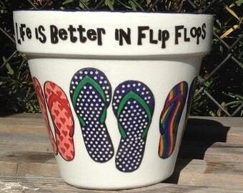 Beach Wedding Centerpiece Flower Pot, Flip Flops, Coastal, Summer Beach Wedding, Bridal Shower, Casual Flower Pot Vase