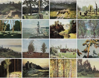 Summer Landscapes - Set of 16 Vintage Soviet Postcards - Printed in the Soviet Union 1950s-1980s Nature Forest Trees Birches River Art Print