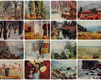 By native Country - Painting by E. Vostokov - Set of 16 Vintage Soviet Postcards, 1974. Forest River Sea Summer Autumn Landscape Art Print