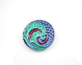 Antique Relief Iridescent Blue Green Red Czech Glass Buttons Blue AB Relief Old Czech Glass Handmade Buttons 27mm (1 pc) 49V25