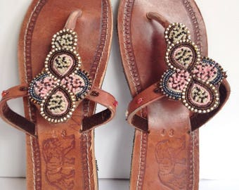 Hand Made Leather Sandals - Beaded Strap 3