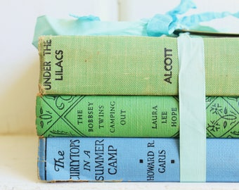 Vintage BLUE GREEN BOOK Bundle, Vintage Decorative Books, Bobbsey Twins, Alcott, Curly Tops