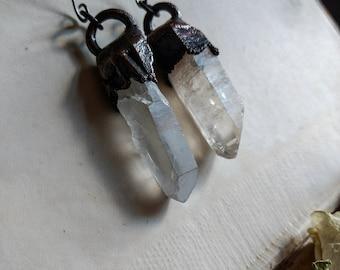 Raw Quartz Crystal Earrings. Copper Earrings. Crystal Earrings. Niobium Earrings. Boho Earrings