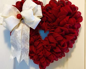 Red Burlap Heart Wreath ~ Christmas, Valentine's Day, Wedding, Anniversary, Everyday Wreath, Gifts