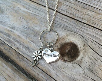 Flower Girl Necklace, Charm Necklace, Personalized Necklace, Flower Necklace, Necklace, Love Necklace, Gifts for her, Gifts for Flower Girl